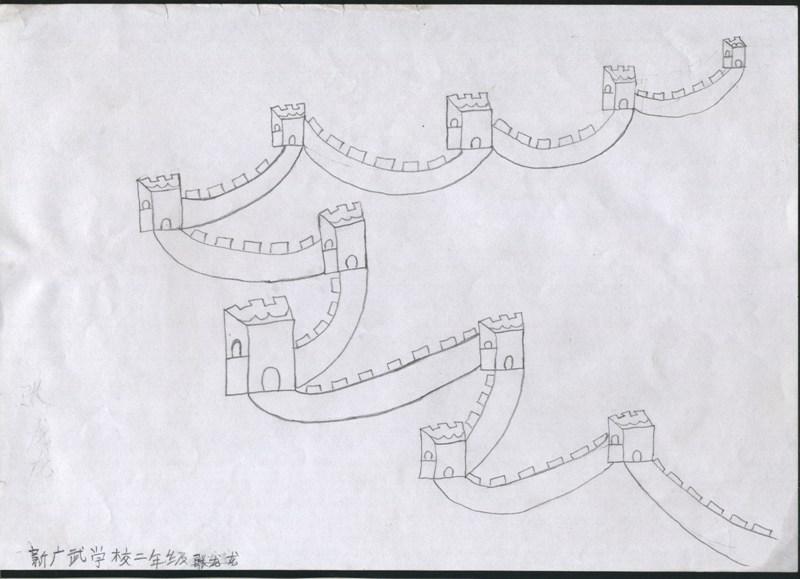 长城黑白线条手绘
